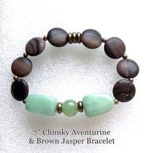 "Chunky Aventurine & Brown Jasper Bracelet 7"""